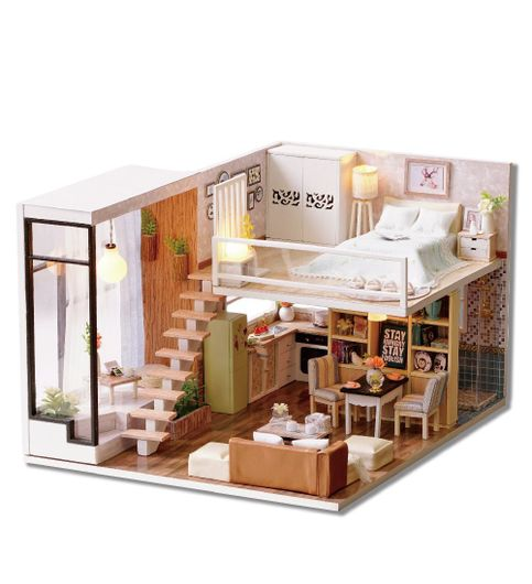 Mopixie Dollhouse Miniature with Furniture Wooden DIY DollHouse Kit Plus Dust Proof and Music Movement 124 Scale Creative Room for Valentines Day Gift Idea waiting for time