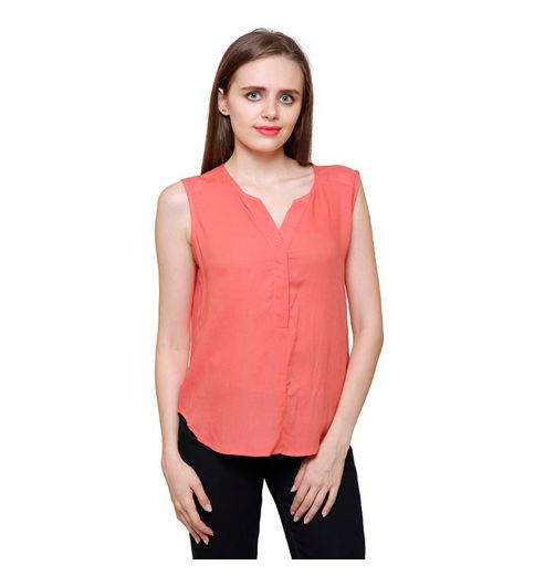 Mythya Womens Solid Coral Rayon Sleeveless Top