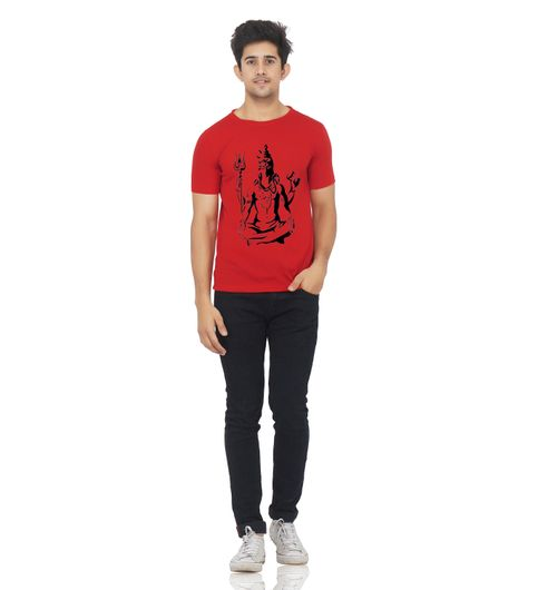 Red color half sleeve lord shiva printed tshirt for men