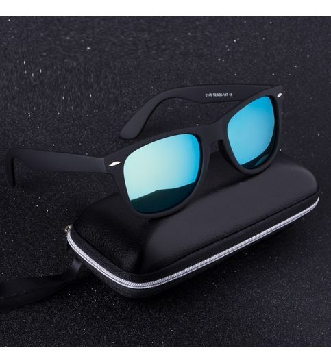 Skygge Original Medium Size Matte Finish Unisex Wayfarer UV 400 Protected Polycarbonate Aqua Blue Sunglasses With Black Frame
