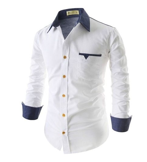 New Fancy Pure Cotton White Formal Men Shirt