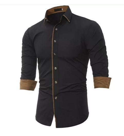 New Fancy Pure Cotton Black Formal Men Shirt