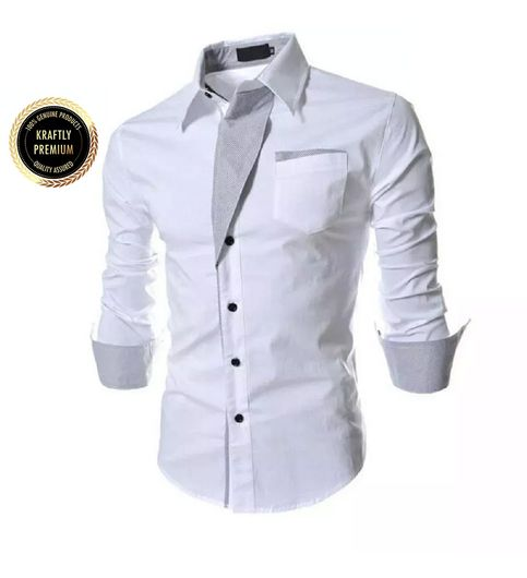 Collar UP White Slim Fit Formal Shirt