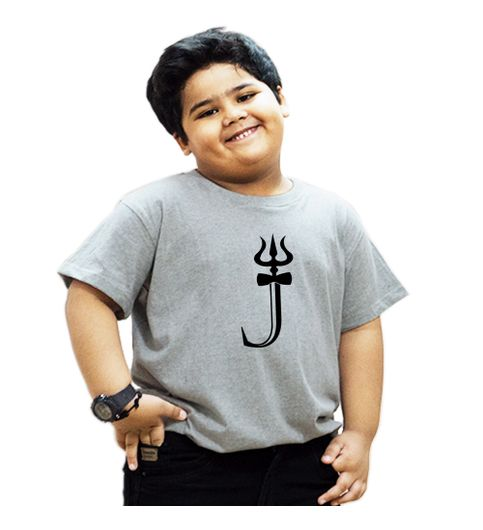 HEYUZE 100 Cotton Printed Grey Half Sleeve Kids Boys Round Neck T Shirt With HEY-KTS-HS-GN-BOY-GRY-1430