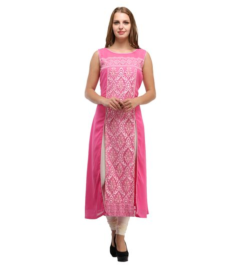 Pink Georgette Embroidery Kurti