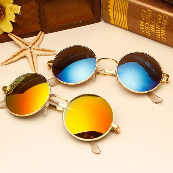 Sunglasses New Design Blue And Golden Mercurey Round Goggles For Men