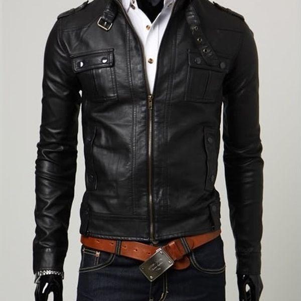Italiano TUCCI Vintage Slim Fit Padding Style Designer Mens Semi Leather Jacket Black P14