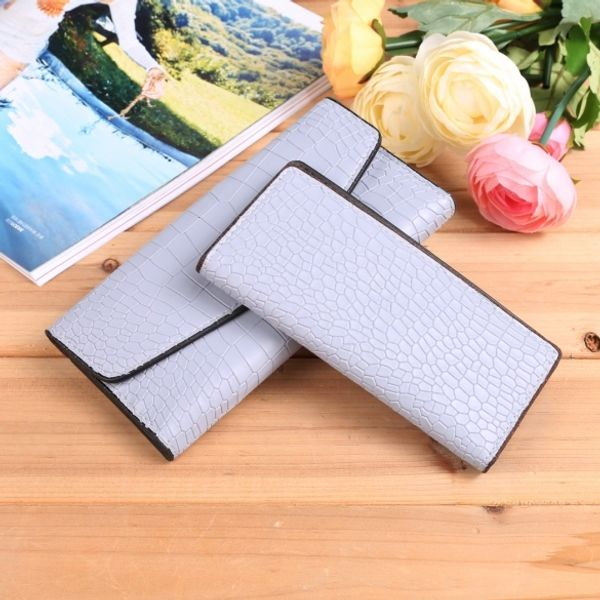 New Fashion Women Alligator Print Wallet And Card Holder Set Gray Colored