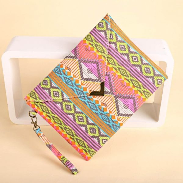 New Women Canvas Envelop Clutch Bag National Style Geometric Casual Party Handbag Green Colored