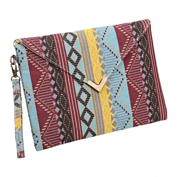 New Women Canvas Envelop Clutch Bag National Style Geometric Casual Party Handbag RoseRed Colored