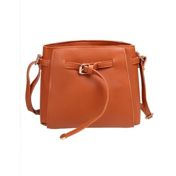 Women Fashion Synthetic Leather Solid Small Shoulder Bag Handbag Messenger Bag Brown Colored