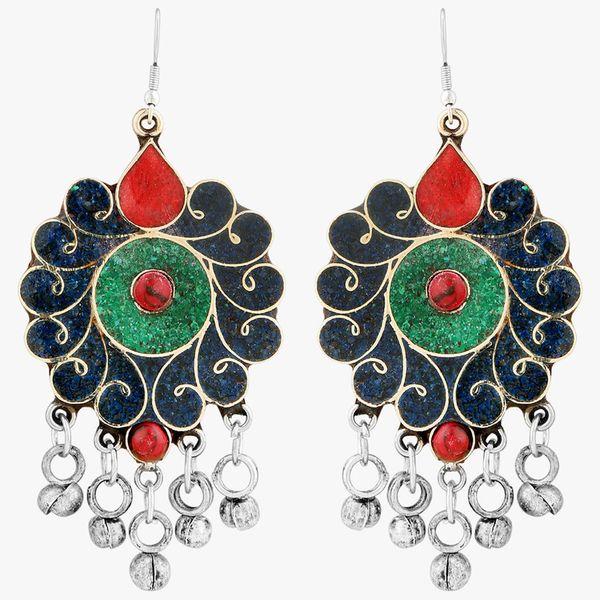 WATCH ME Banjara Boho pom Pom Trendy Fashionable Partywear Earrings Jhumki for Women Girls WMRPG-090