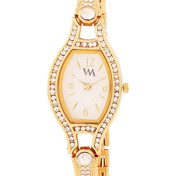 WATCH ME Gold Metal White Dial Watch For Women Watch MeAL-130