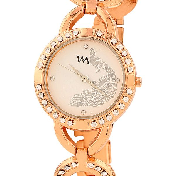 WATCH ME Rose Gold Metal White Dial Watch For Women Watch MeAL-146