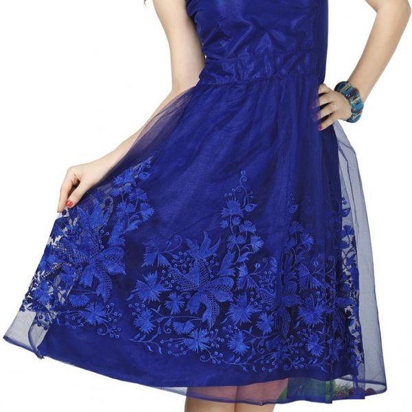 Versatile Blue Colour Soft Net Embroidered Work Party Wear Dresses
