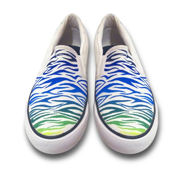 Zebra Pattern White and rainbow colour slipon canvas shoes casual shoe loafer shoes printed handpainted shoes