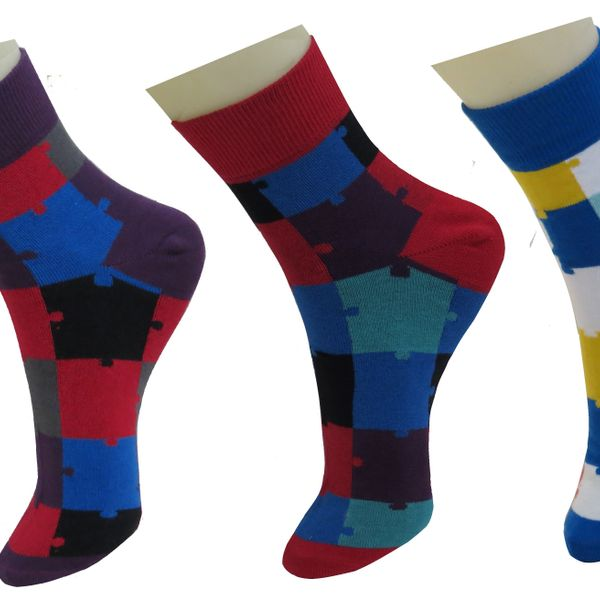 Neska Moda Premium 3 Pairs Mens Free Size Cotton Checks Crew Length Quality Socks-Multicolor S265