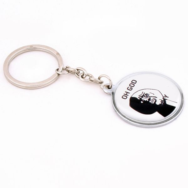 Daffodils Troll Oh God Why Face Key Chain White Black