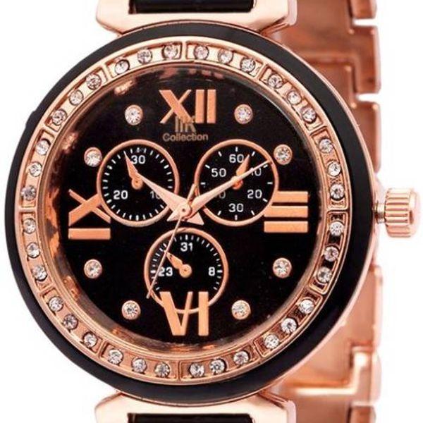 Stylish Golden White Diamond Watch - Women