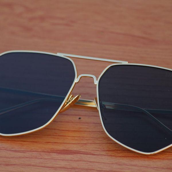 hexa shape golden black stylish looking sunglasses for men