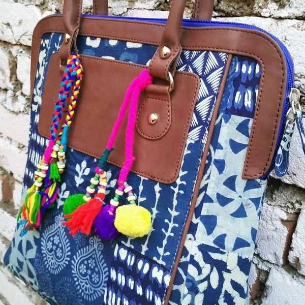 Indigo Shoulder Bag with dark brown handle