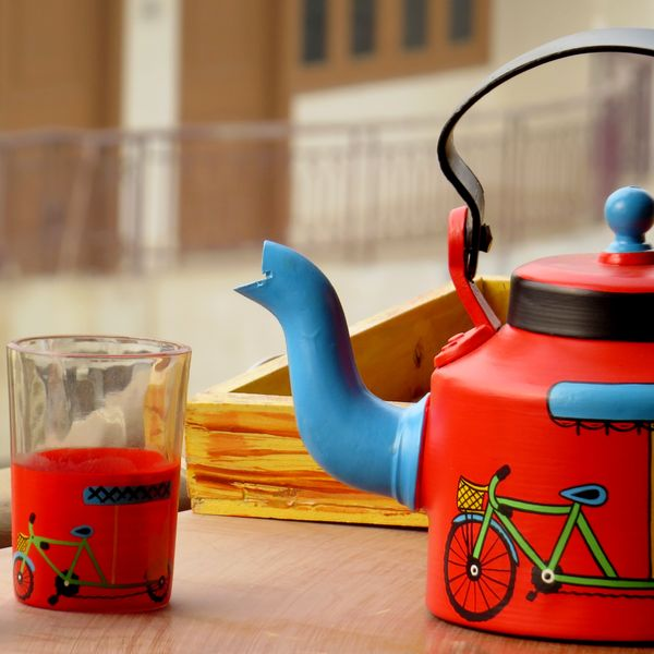 Scrapshala Rickshaw Themd Kettle And Glass Set