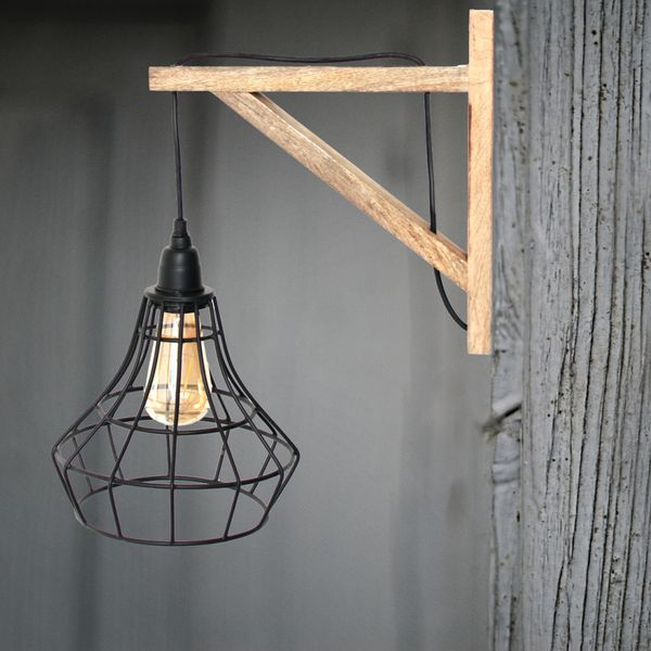Marical Wood and Cage Wall Lamp