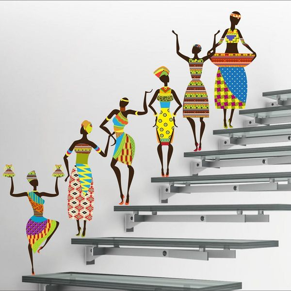 Eja Art Tribal Lady Covering Area 180 X 60 Cms Multi Color Sticker