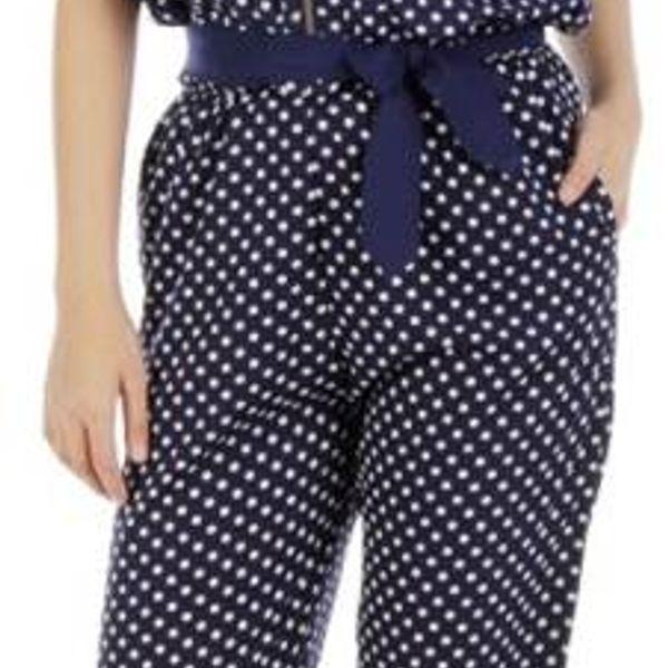 navy polka print crepe jumpsuit