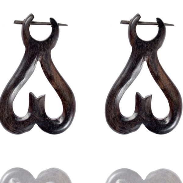 Tibetan Wood Handmade Tribal Craft African Brown Wooden Stick Earring WER356