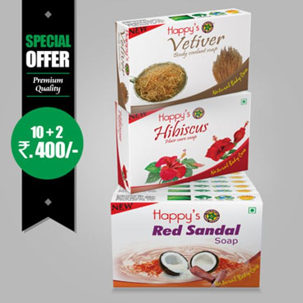 Happys  Red Sandal Soap Pay for 10 Get 12 Combo Offer