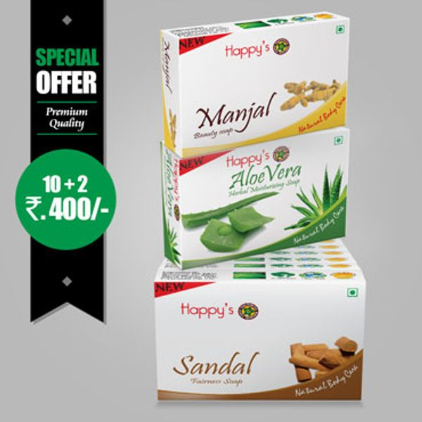 Happys Sandal Soap Pay for 10 Get 12 Combo Offer