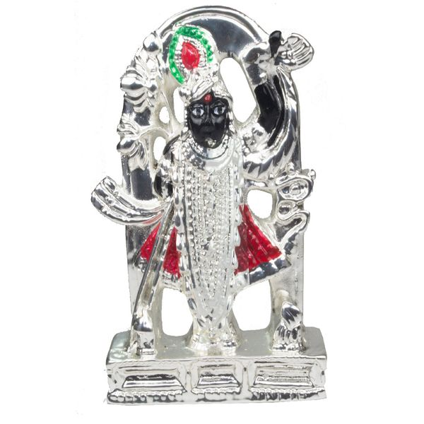 Silver plated Shreenathji Idol Showpiece For Car  Office - 9 cm