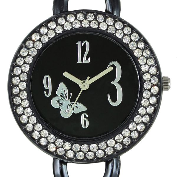 The Shopoholic Analog Diamond Black Dial Black Metal Strap Watches For Women-Watches For Girls Formal