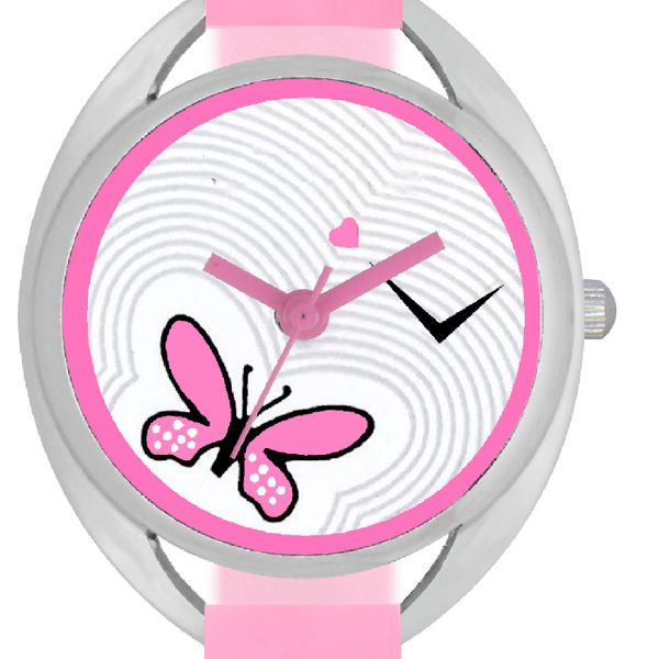 The Shopoholic Latest Pink Designer Butterfly Dial Analog Watches For Women-Watches For Girls