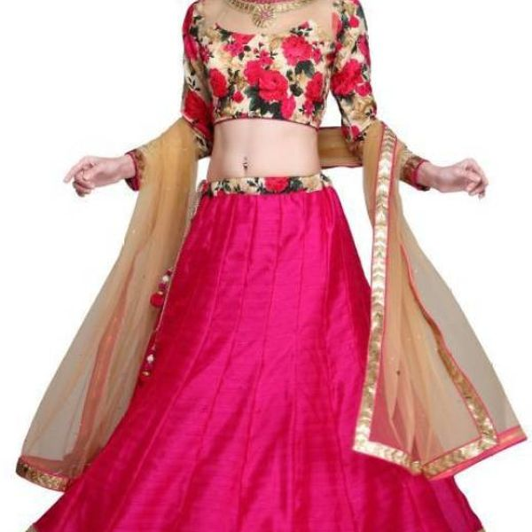 Polka Print Printed Floral Print Womens Lehenga Choli and Dupatta Set  Stitched