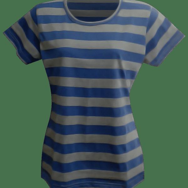 Womens Cotton T Shirt - Stripe Blue Grey