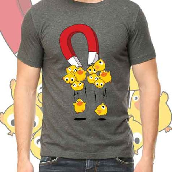 I Attract Chicks - Gopeppy Cotton Grey T-shirt