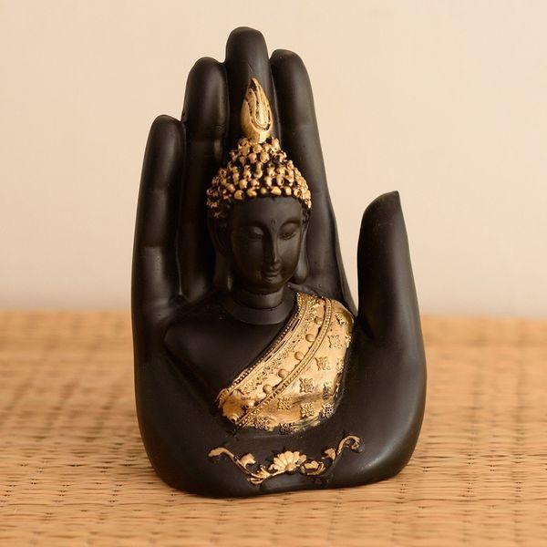 Vivaan Exim Golden Handcrafted Palm Buddha Polyresin Showpiece 12.5 cm x 7.5 cm x 17.5 cm Black