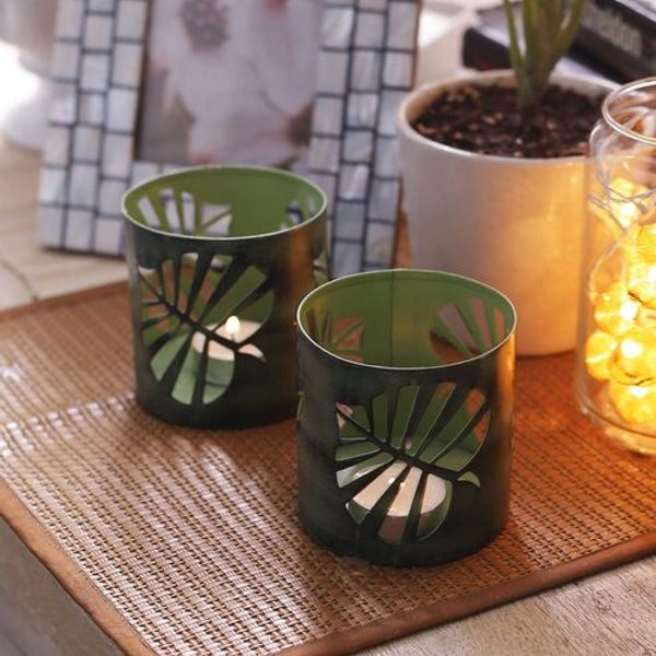 Leaf design Candle Tea Holder Metal Lamp Pair