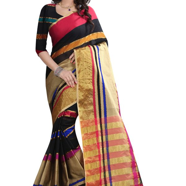 B4Best Creation Embellished Net Black Color Saree for Women with Blouse Piece
