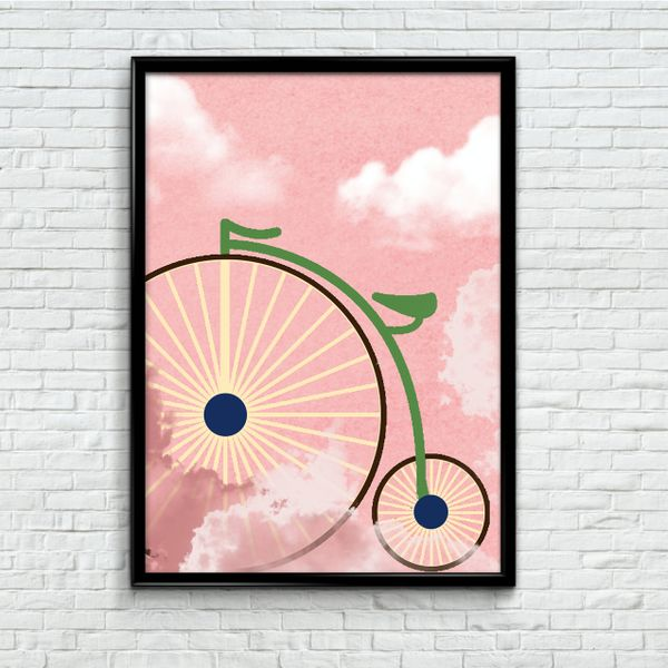 Vintage Pink Poster - Watercolour Bicycle