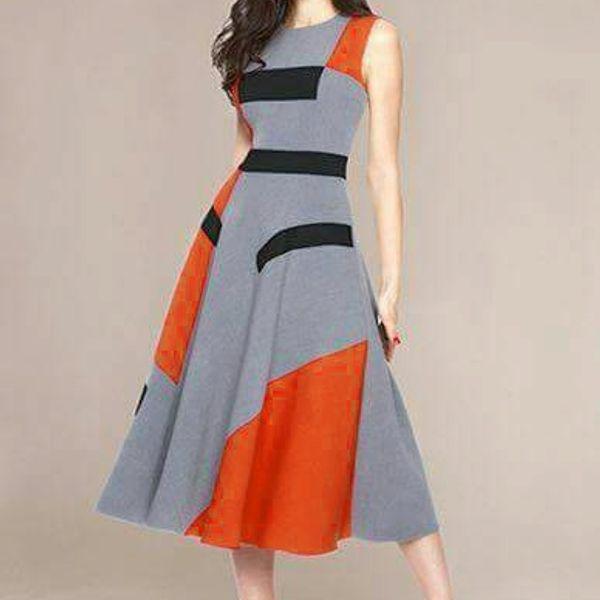 WESTERN ORANGE  GREY DRESS