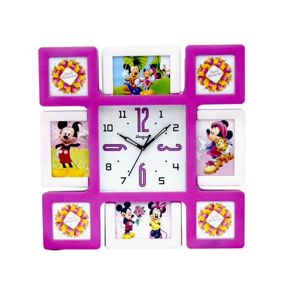 Collage 8 in 1 Photo Frame with Clock