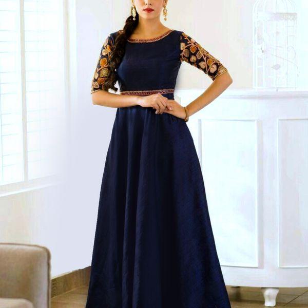 Fabdiwa Fashion lattest and gorgeous designer Navy blue Anarkali suit