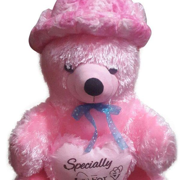 Cute Teddy Bear Fur With Cap 24 Inch Pink