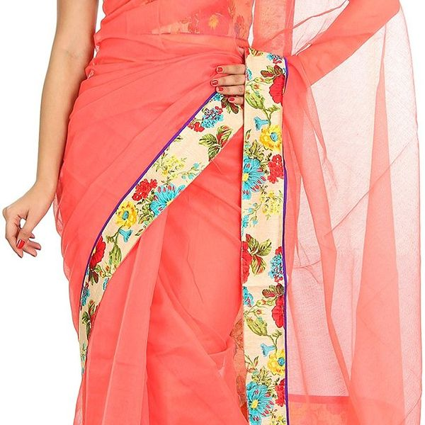 Korie Sarees Womens Kota Cotton Saree with Blouse Peach