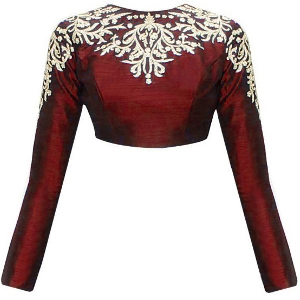 Rozy Fashion Maroon Embroidered Designer Raw Silk Long Sleeves Blouse For Women