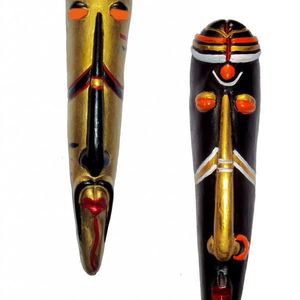 Home Decorative Terracotta Wall Hanging Multicolour Tribal Mask Pair-25 cms. - Handcrafted Decorative Mask for Wall Decor Room Decor and Gifts