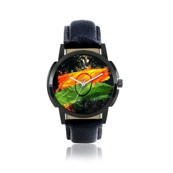 Klassy Collection National Flag Designer Black Analog Watch - For Men